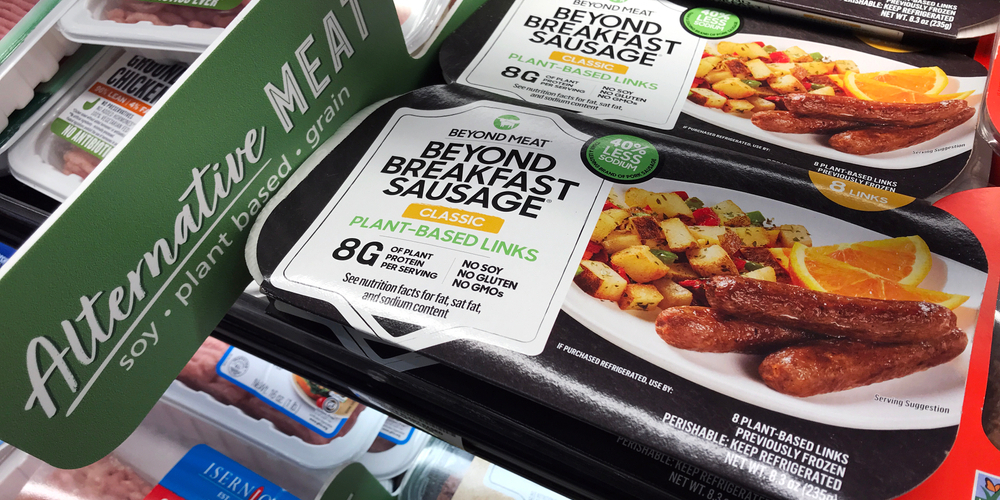 Beyond Meat brand classic plant-based links Beyond Breakfast Sausage packages available for vegan customers